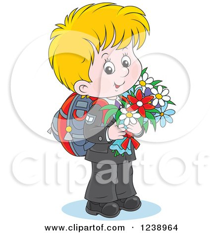 Clipart of a Blond School Boy Carrying Flowers - Royalty Free Vector Illustration by Alex Bannykh