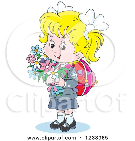Clipart of a Blond Caucasian School Girl Carrying Flowers - Royalty Free Vector Illustration by Alex Bannykh