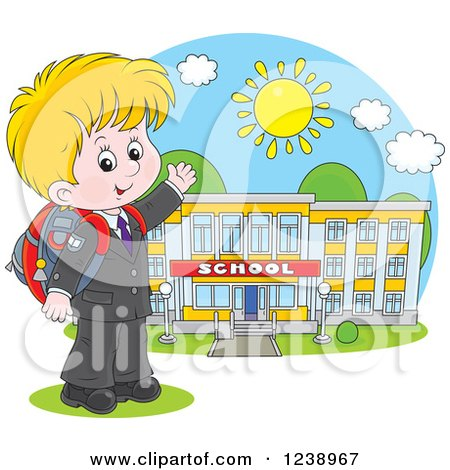Clipart of a Blond Caucasian School Boy Presenting a Building on a Sunny Day - Royalty Free Vector Illustration by Alex Bannykh