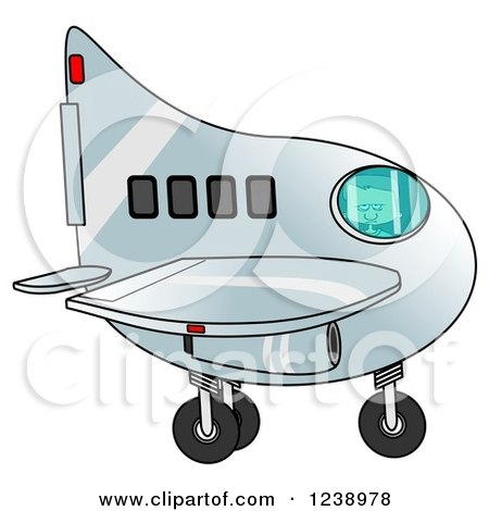 Clipart of a Boy Flying an Airplane - Royalty Free Illustration by djart