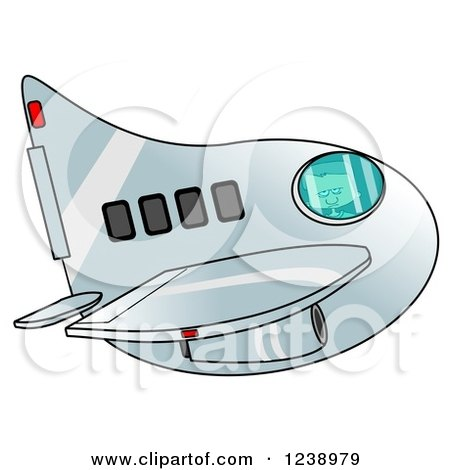 Clipart of a Boy Piloting an Airplane - Royalty Free Illustration by djart