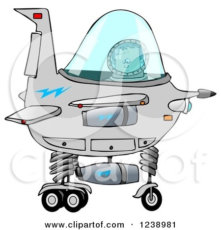 Clipart of a Boy Astronaut Operating a Spaceship - Royalty Free Illustration by djart