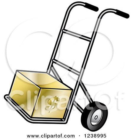 Clipart of a Hand Truck Dolly with a Gold Dollar Box - Royalty Free Vector Illustration by Lal Perera