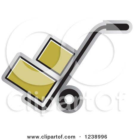 Clipart of a Hand Truck Dolly with Gold Boxes - Royalty Free Vector Illustration by Lal Perera