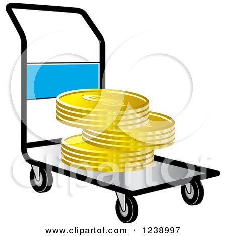 Clipart of a Hand Truck Dolly with Gold Goins - Royalty Free Vector Illustration by Lal Perera