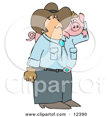 Male Farmer Carrying a Pet Pig on His Shoulder Clipart Illustration by djart