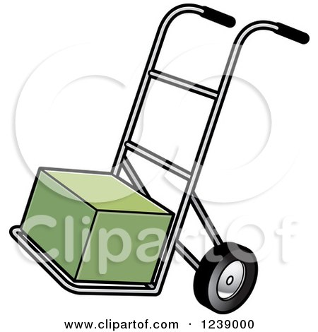 Clipart of a Hand Truck Dolly with a Green Box - Royalty Free Vector Illustration by Lal Perera