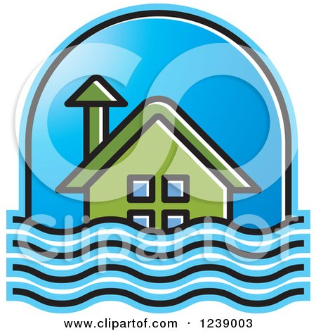 Clipart of a Green House in Flood Waters - Royalty Free Vector Illustration by Lal Perera