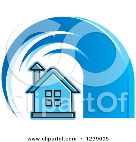 Clipart of a Blue Tsunami Wave over a House - Royalty Free Vector Illustration by Lal Perera