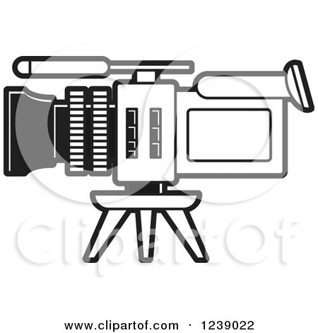 Clipart of a Black and White Video Camera 2 - Royalty Free Vector Illustration by Lal Perera