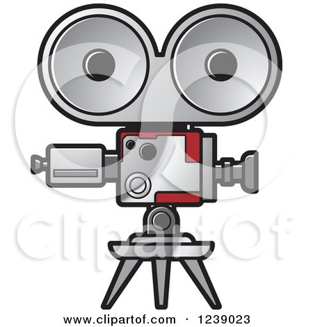 Clipart of a Silver Movie Projector and Film Reels ...