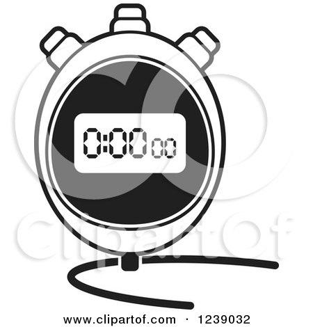 Clipart of a Black and White Digital Stopwatch - Royalty Free Vector Illustration by Lal Perera
