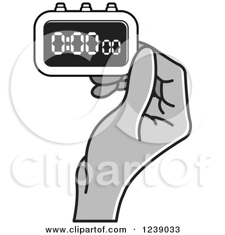 Clipart of a Gray Hand Holding a Digital Stopwatch - Royalty Free Vector Illustration by Lal Perera