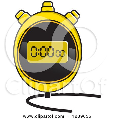 Clipart of a Yellow Digital Stopwatch - Royalty Free Vector Illustration by Lal Perera