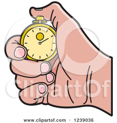 Clipart of a Caucasian Hand Holding a Gold Stopwatch - Royalty Free Vector Illustration by Lal Perera
