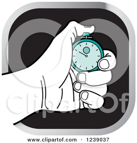 Clipart of a Black and White Hand Holding a Turquoise Stopwatch Icon - Royalty Free Vector Illustration by Lal Perera