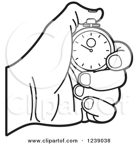 Clipart of a Black and White Hand Holding a Stopwatch - Royalty Free Vector Illustration by Lal Perera