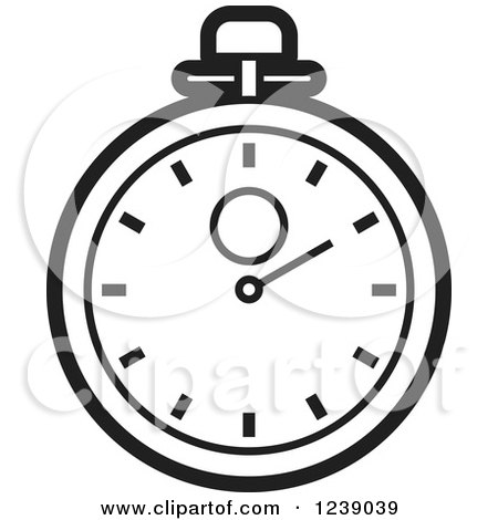 Clipart of a Black and White Stopwatch - Royalty Free Vector Illustration by Lal Perera