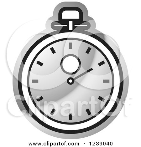 Clipart of a Silver Stopwatch - Royalty Free Vector Illustration by Lal Perera