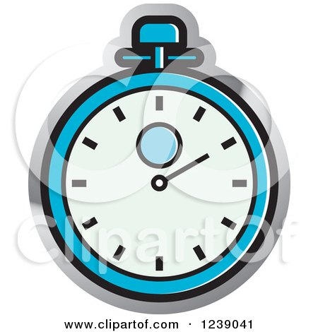 Clipart of a Blue and Silver Stopwatch - Royalty Free Vector Illustration by Lal Perera