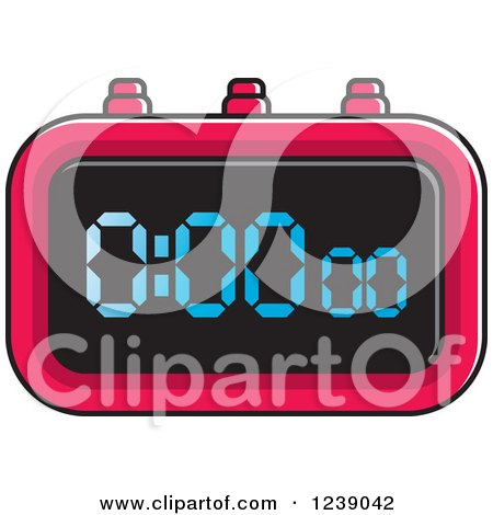 Clipart of a Red Digital Stopwatch - Royalty Free Vector Illustration by Lal Perera
