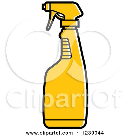 Clipart of a Yellow Spray Bottle - Royalty Free Vector Illustration by Lal Perera
