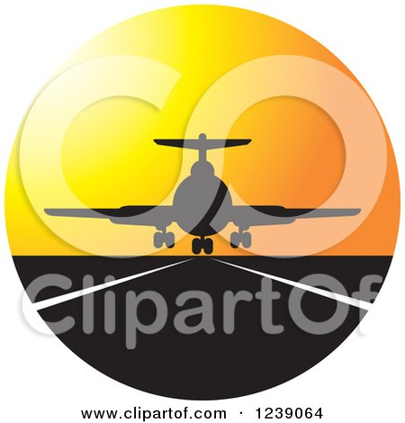 Clipart of a Silhouetted Commercial Airliner Plane Landing at Sunset - Royalty Free Vector Illustration by Lal Perera