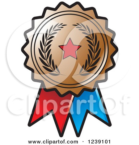 Clipart of a Bronze Olive Branch and Star Medal Rosette - Royalty Free Vector Illustration by Lal Perera