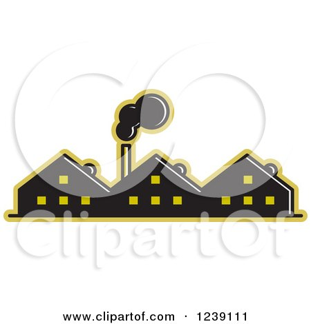 Clipart of a Black and Yellow Factory - Royalty Free Vector Illustration by Lal Perera
