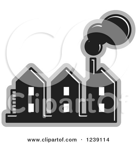 Clipart of a Black and Gray Factory 2 - Royalty Free Vector Illustration by Lal Perera