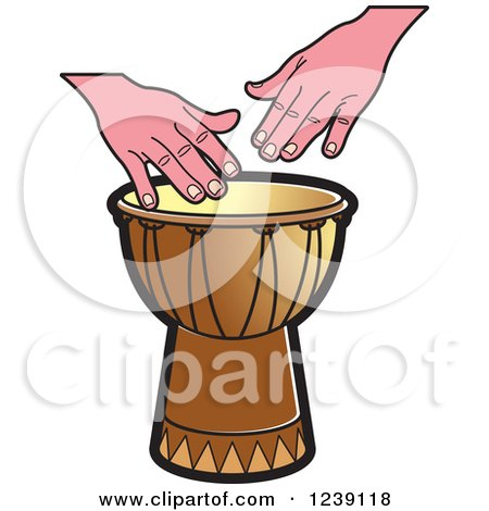 Clipart of a Drum and Hands 3 - Royalty Free Vector Illustration by Lal Perera