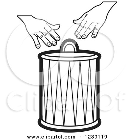 Clipart of a Black and White Drum and Hands 2 - Royalty Free Vector Illustration by Lal Perera