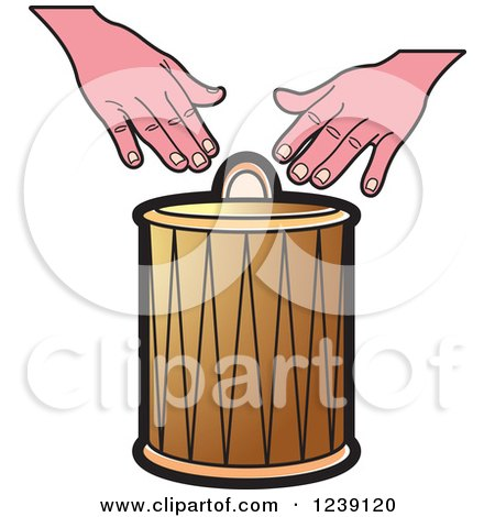 Clipart of a Drum and Hands 2 - Royalty Free Vector Illustration by Lal Perera