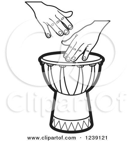 Clipart of a Black and White Drum and Hands 3 - Royalty Free Vector Illustration by Lal Perera