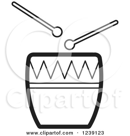 Clipart of a Black and White Drum and Sticks - Royalty Free Vector Illustration by Lal Perera