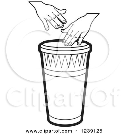 Clipart of a Black and White Drum and Hands - Royalty Free Vector Illustration by Lal Perera