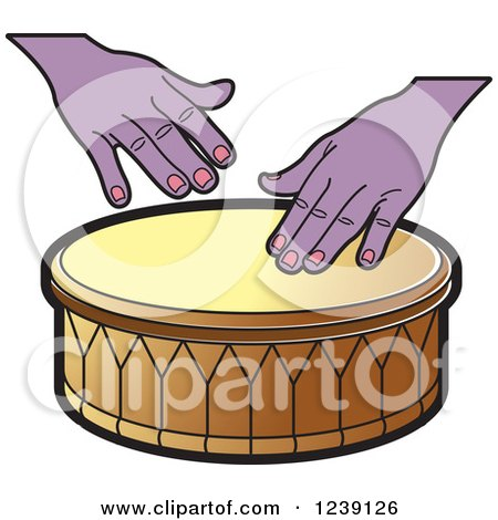 Clipart of a Drum and Hands 4 - Royalty Free Vector Illustration by Lal Perera
