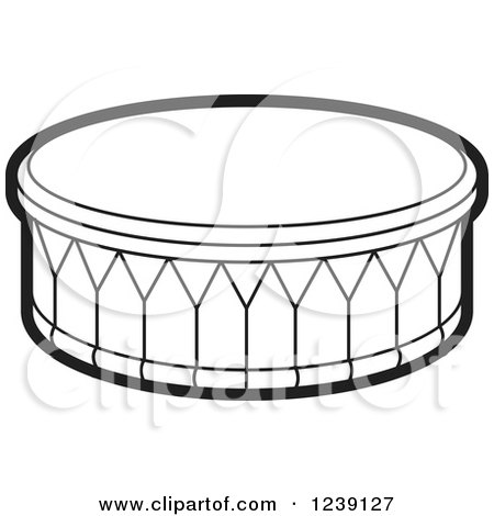 Clipart of a Black and White Drum - Royalty Free Vector Illustration by Lal Perera