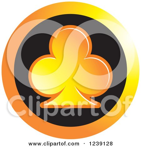 Clipart of a Gradient Orange Playing Card Club Icon Button - Royalty Free Vector Illustration by Lal Perera