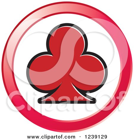 Clipart of a Round Red Playing Card Club Icon Button - Royalty Free Vector Illustration by Lal Perera
