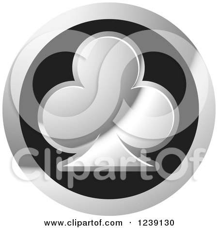 Clipart of a Round Silver and Black Playing Card Club Icon Button - Royalty Free Vector Illustration by Lal Perera