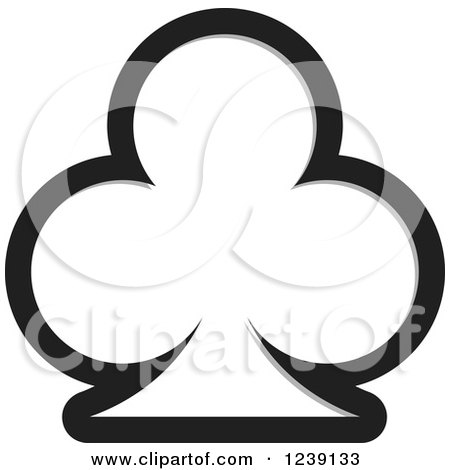 Clipart of a Black Playing Card Club with a Gray Shadow - Royalty Free Vector Illustration by Lal Perera
