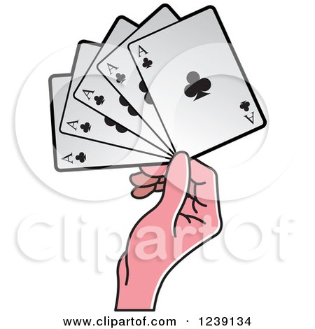 Clipart of a Hand Holding Four Ace Club Playing Cards - Royalty Free Vector Illustration by Lal Perera
