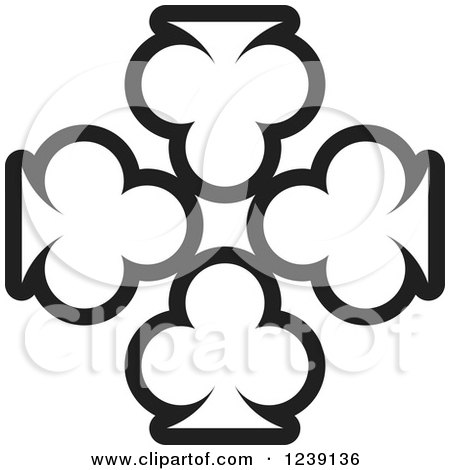 Clipart of Four Black and White Playing Card Clubs - Royalty Free Vector Illustration by Lal Perera
