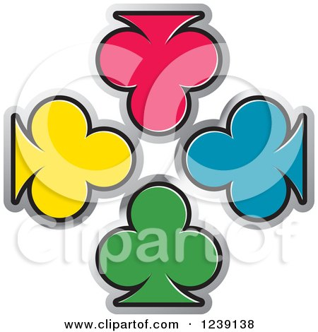 Clipart of Four Colorful Playing Card Clubs - Royalty Free Vector Illustration by Lal Perera