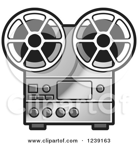Clipart of a Silver Film Reel with Curling Tape - Royalty Free ...