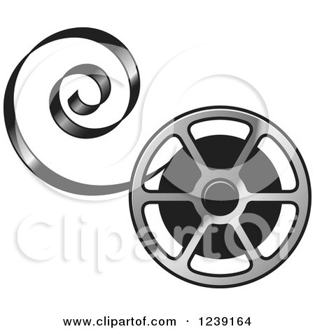 Clipart of a Silver Film Reel with Curling Tape - Royalty Free Vector Illustration by Lal Perera