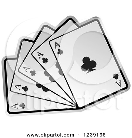 Clipart of Five Ace Playing Cards - Royalty Free Vector Illustration by Lal Perera