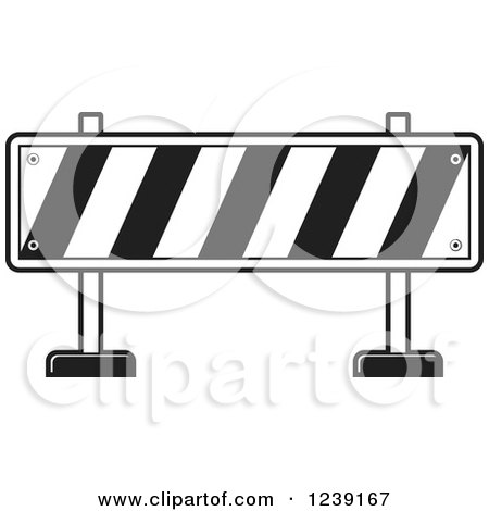 Clipart of a Black and White Road Block Construction Barrier - Royalty Free Vector Illustration by Lal Perera