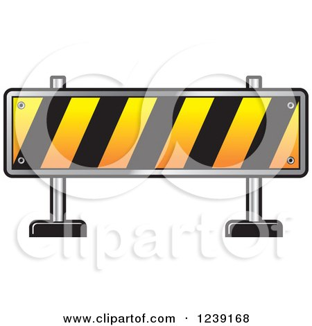 Clipart of a Road Block Construction Barrier - Royalty Free Vector Illustration by Lal Perera